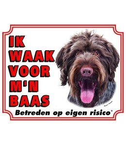 Stickerkoning Duitse Staande Ruwhaar Waakbord - Ik waak voor mijn baas