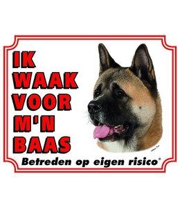 Stickerkoning Akita Waakbord - Ik waak voor mijn baas Bruin