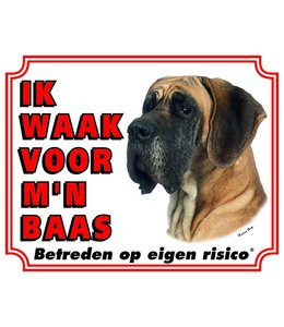 Stickerkoning Duitse Dog Waakbord - Ik waak voor mijn baas