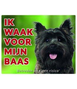 Stickerkoning Cairn Terrier Waakbord - Ik waak voor mijn baas Bruin