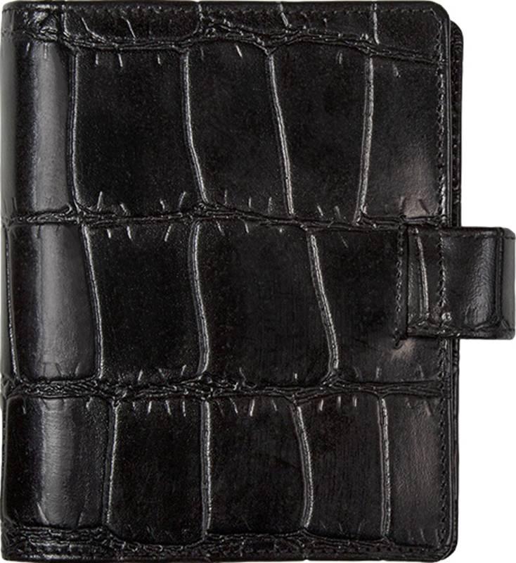 Kalpa 1311-Cy Kalpa pocket organiser Crocoprint black  - leather + free agenda
