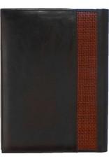 Kalpa Kalpa Zurich schrijfmap Zwart met geweven bruin - leer