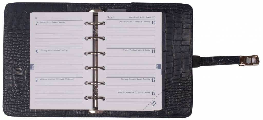 Kalpa 1311-54 Kalpa Junior Pocket Organiser With Paper Fillers, Weekly Planner, Journal, Diary - Croco Blue