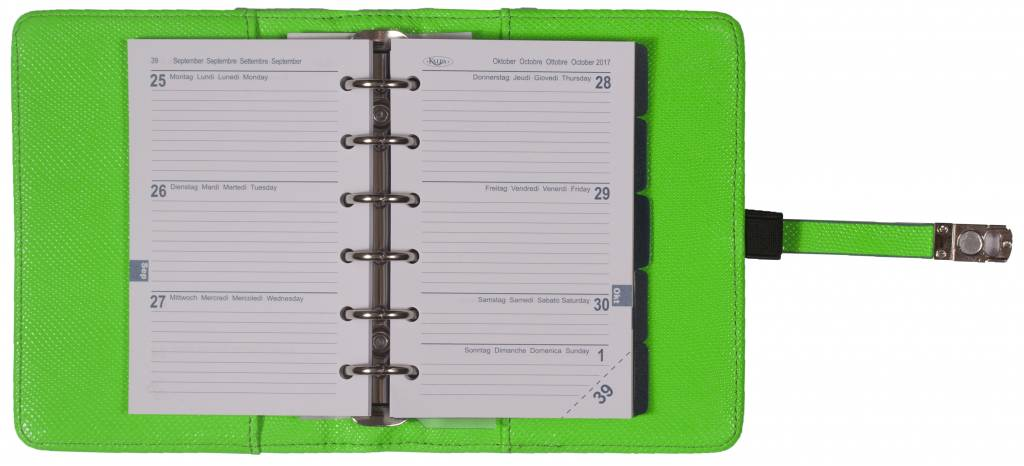 Kalpa 1311-57 Kalpa Junior Pocket Organiser With Paper Fillers, Weekly Planner, Journal, Diary - Marker Green