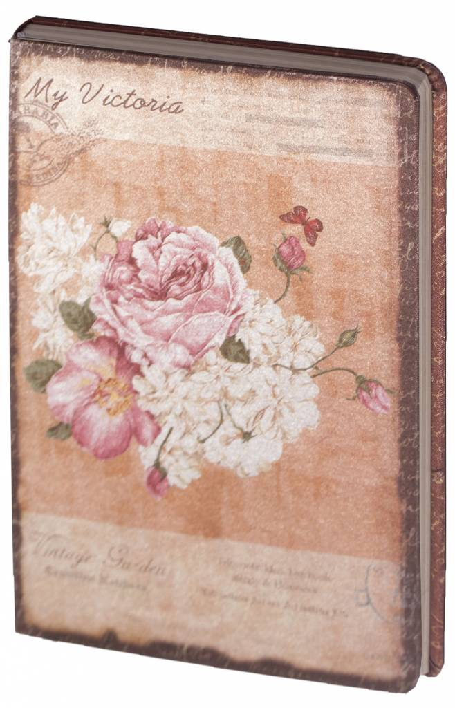 Dreamnotes D8025-1 Dreamnotes notebook My Victoria 9 x 14 cm - White Pink Rose