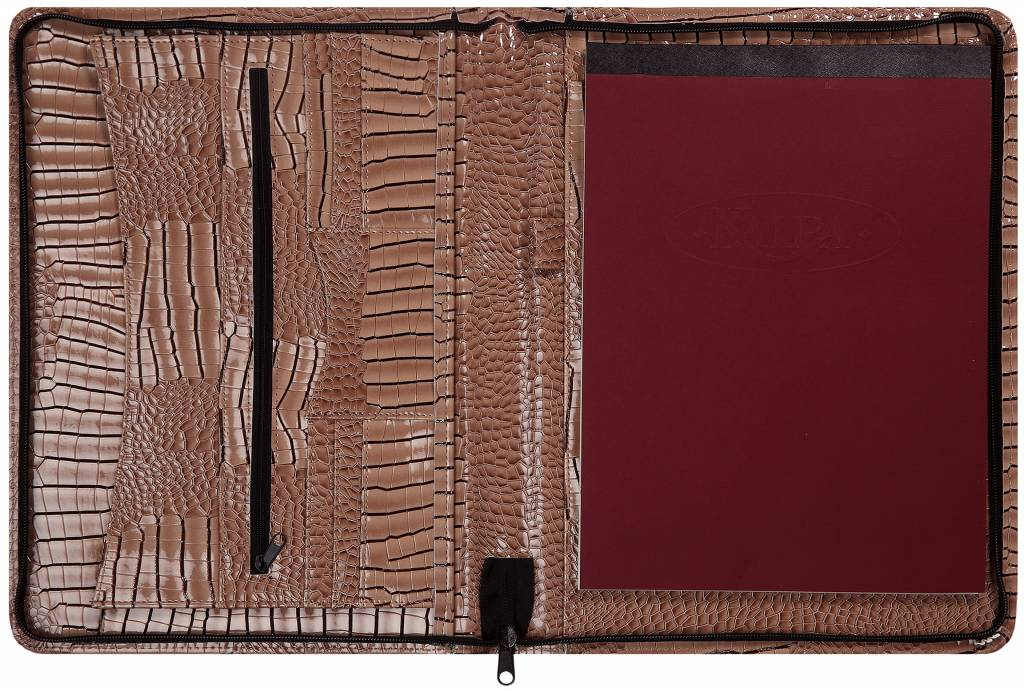 Kalpa 2400-63 Kalpa Alpstein writing case zipper gloss croco taupe
