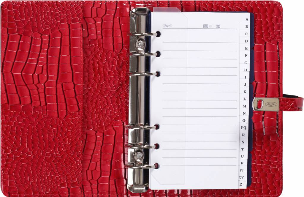 Kalpa 1111-62 Kalpa Personal Organisers Leather with Paper Filler Weekly Planner, Journal, Diary - Gloss Crock Red