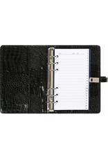 Kalpa 1111-61 Kalpa Personal Organisers Leather with Paper Filler Weekly Planner, Journal, Diary - Gloss Crock Black