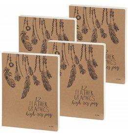 D3900-4P 4 stuks Sketchbook Feathers 26 x 19 cm 240 p