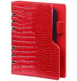 Kalpa 1116-62 personal red compact organiser gloss croco + free agenda