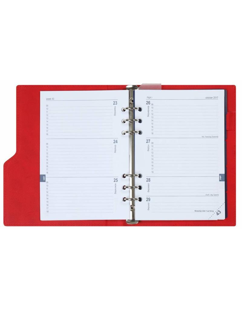 Kalpa 1016-62 A5 red compact organiser gloss croco + free agenda