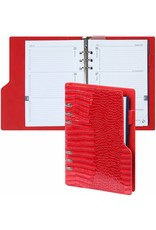 Kalpa 1016-62 A5 compact organiser gloss croco rood + gratis jaarinhoud