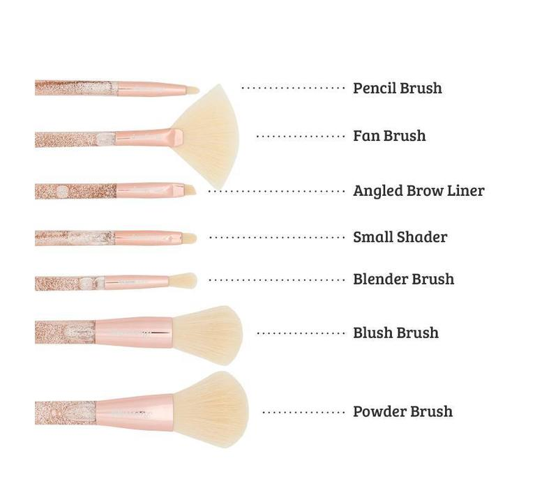 Boozyshop 7 pc. Liquid Glitter Brush Set Rose Gold
