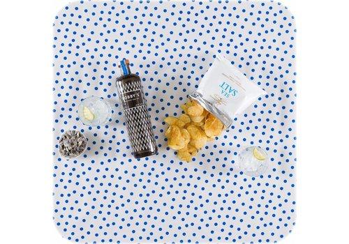 MixMamas Tafelzeil op rol Wit met blauwe stippen