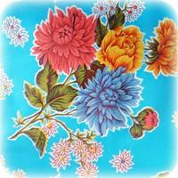 Mexicaans tafelzeil op rol 11m chrysant lichtblauw