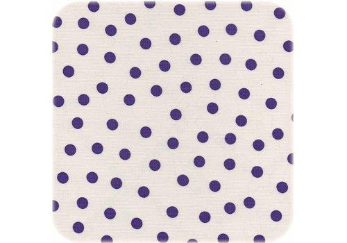 MixMamas Tafelzeil op rol Wit met paarse stippen