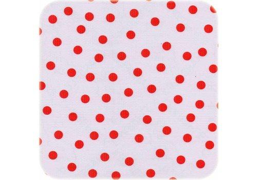 MixMamas Tafelzeil op rol Wit met rode stippen