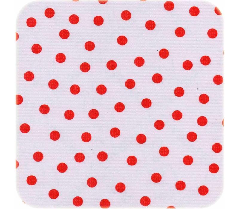 Mexicaans tafelzeil op rol 11m Wit met rode stippen