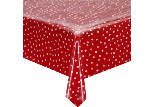 MixMamas Tafelzeil op rol rood met witte stippen