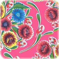Mexicaans tafelzeil op rol Floral fuchsia 11m.