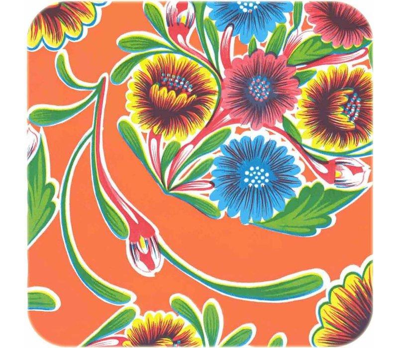 Mexicaans tafelzeil op rol Floral oranje 11m.