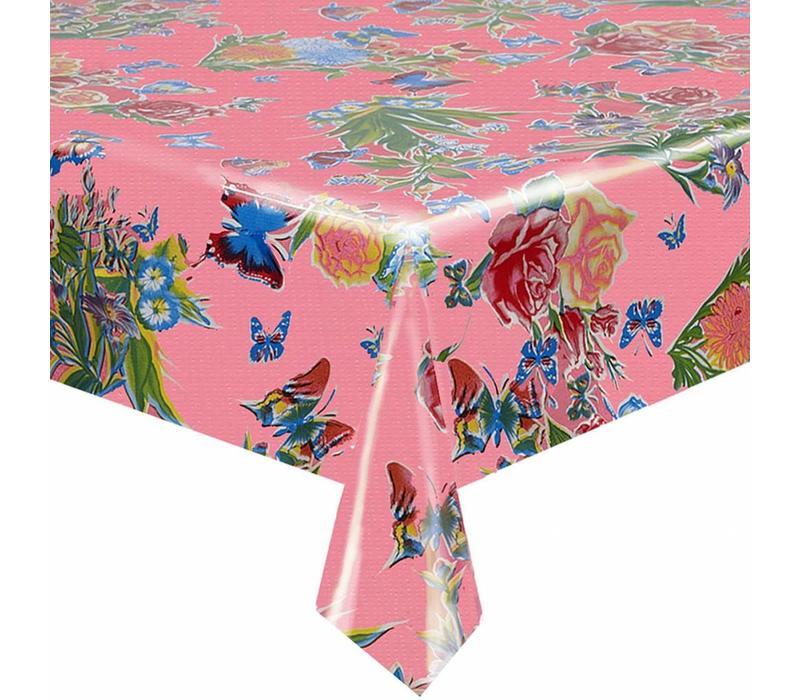 Mexicaans tafelzeil op rol Vlinder roze 11m