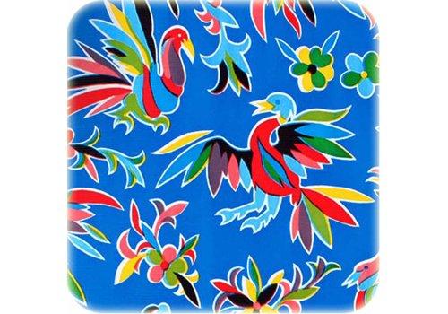 MixMamas Tafelzeil op rol Bloemen en dieren donkerblauw 11m