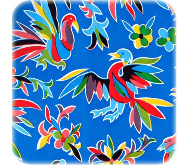 Mexicaans tafelzeil op rol Bloemen en dieren donkerblauw 11m