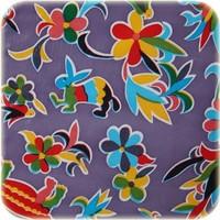 Mexicaans tafelzeil op rol Bloemen en dieren lila 11m.