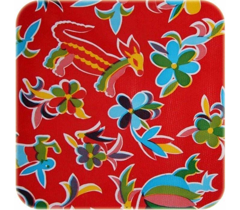 Mexicaans tafelzeil op rol Bloemen en dieren rood 11m.