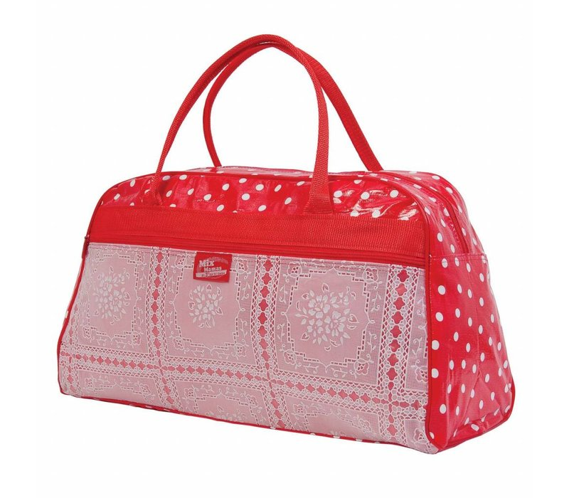 Bowling Bag Polka lace - Rood/Wit