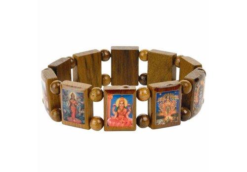MixMamas Houten armband met Hindu goden