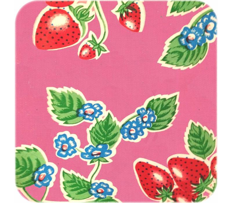 Mexicaans Tafelzeil Aardbeien - 120 x 200 cm - Roze