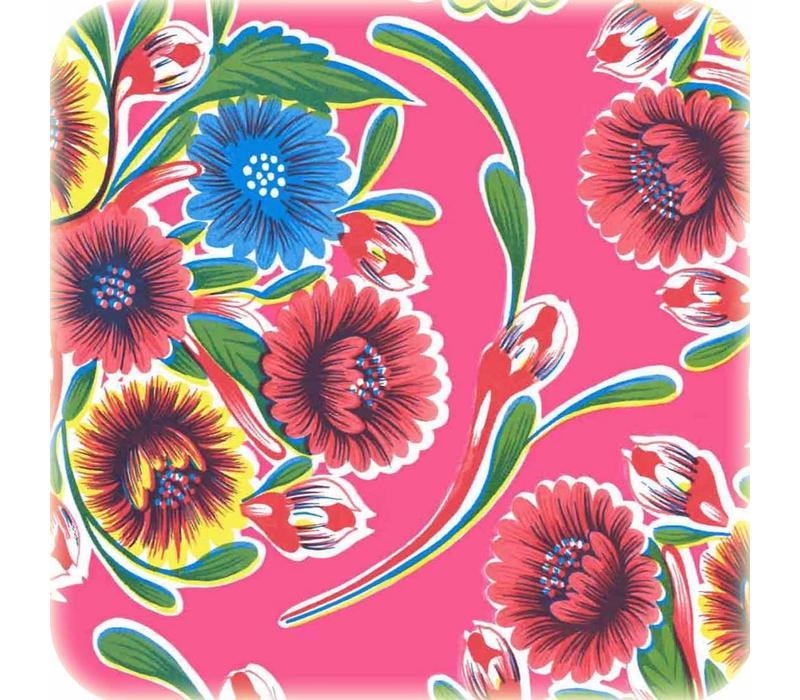 Mexicaans tafelzeil 2m bij 1.20m, Floral fuchsia