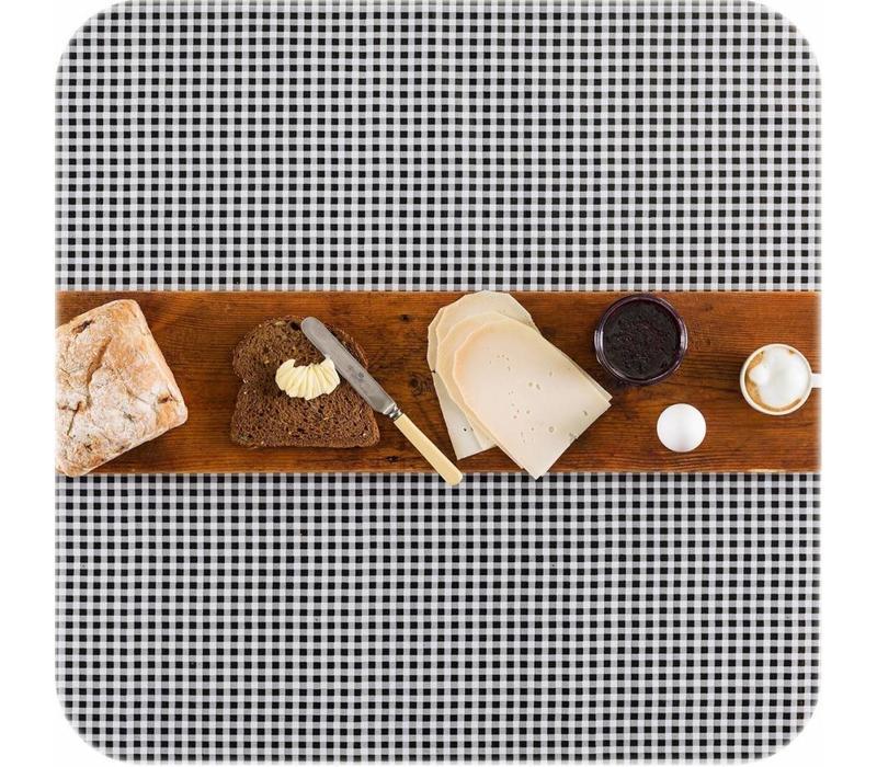 Tafelzeil Ruitje Vierkant - 120 x 120 cm - Zwart
