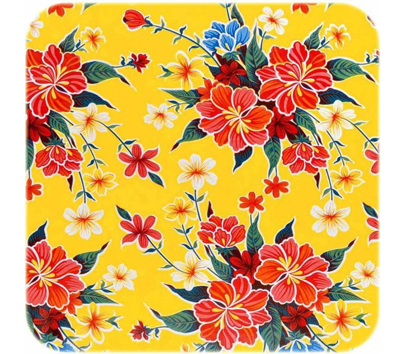 Mexicaans Tafelzeil vierkant 1,20m bij 1,20m fortin geel