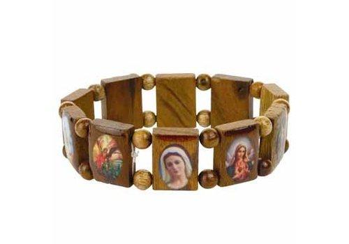 MixMamas Armband hout met heiligen medaillons - one size