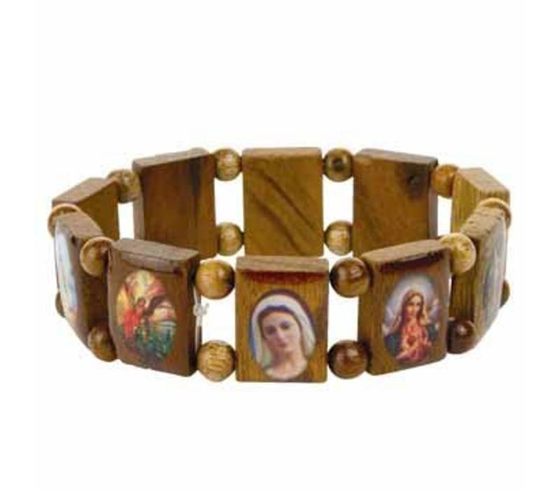 Armband hout met heiligen medaillons - one size