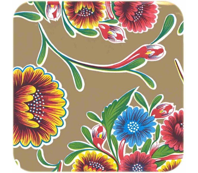 Mexicaans tafelzeil 2m bij 1.20m, Floral goud