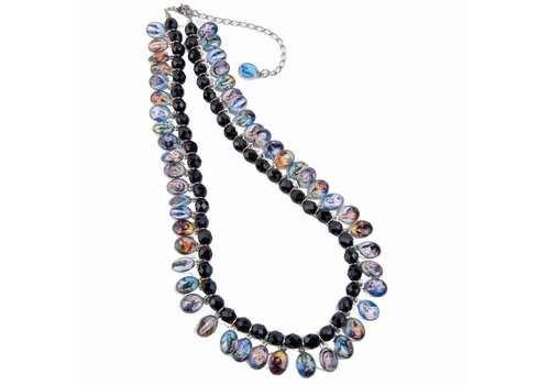 "MixMamas Damesketting ""de valse kristal"" bedeltjes - 45 cm - Zwart/Multicolor"