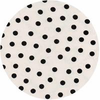 Tafelzeil Rond - Ø 120 cm - Stippen - Wit/Zwart