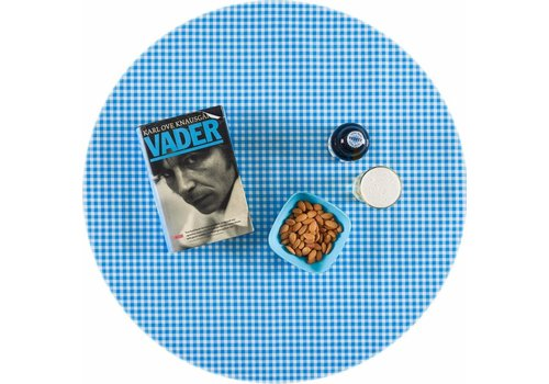 MixMamas Rond tafelzeil 120cm Ruitje lichtblauw