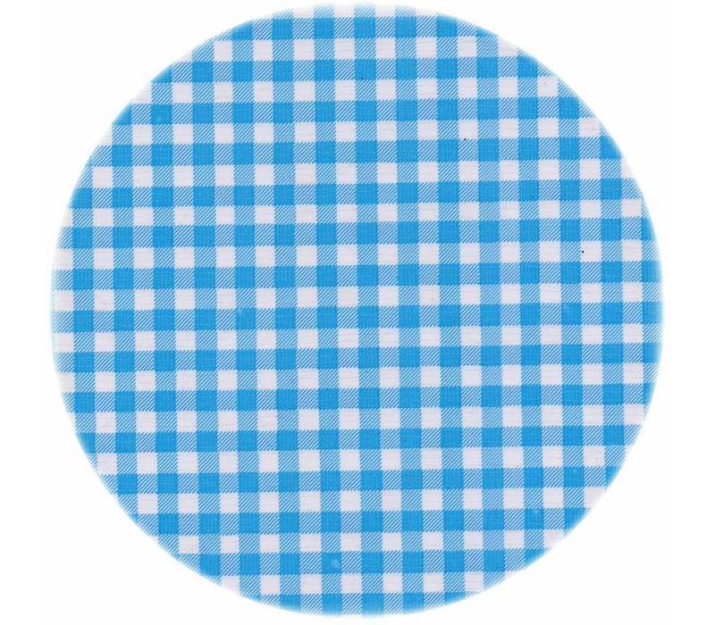 Rond tafelzeil 120cm ruitje lichtblauw