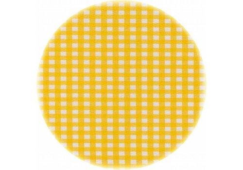 MixMamas Rond tafelzeil 120cm Ruitje geel