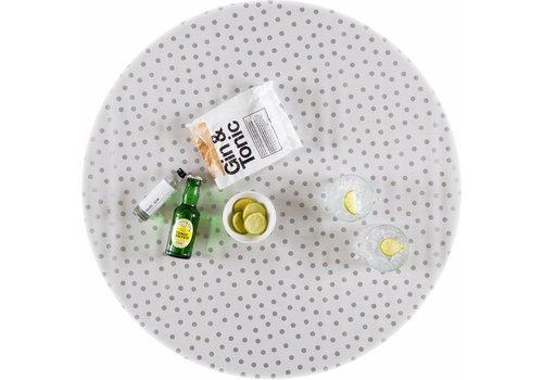 MixMamas Rond tafelzeil 120cm Wit met zilveren stip rond