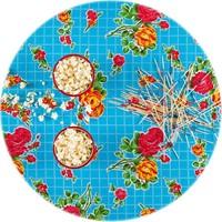 Mexicaans Tafelzeil Rond - Ø 120 cm - Rozendal - Lichtblauw