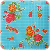 Mexicaans Tafelzeil vierkant 1,20m bij 1,20m Rosedal blauw