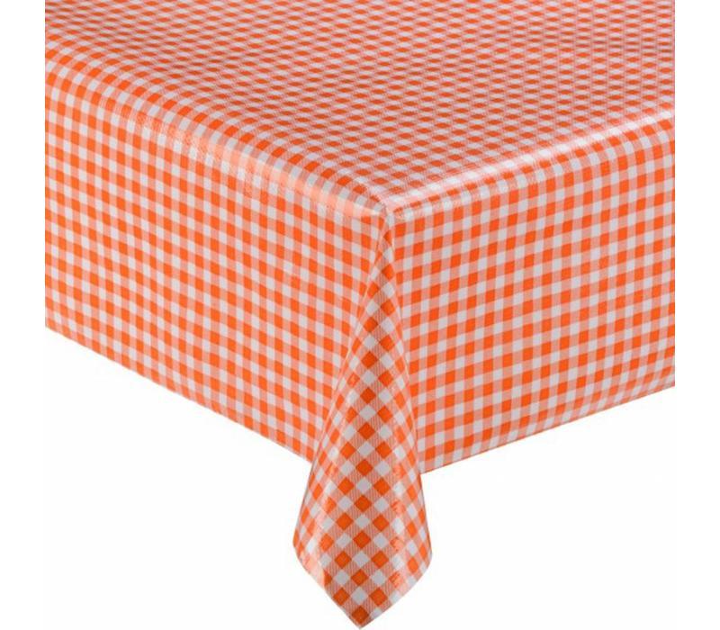 Mexicaans Tafelzeil vierkant 1,20m bij 1,20m Ruitje oranje