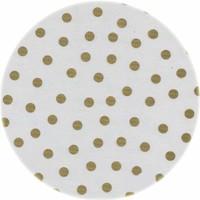 Rond tafelzeil 120cm wit met gouden stip rond