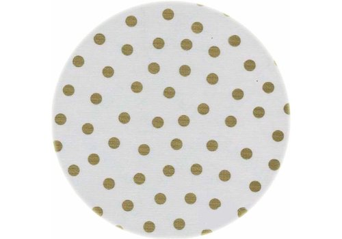 MixMamas Rond tafelzeil 120cm Wit met gouden stip rond
